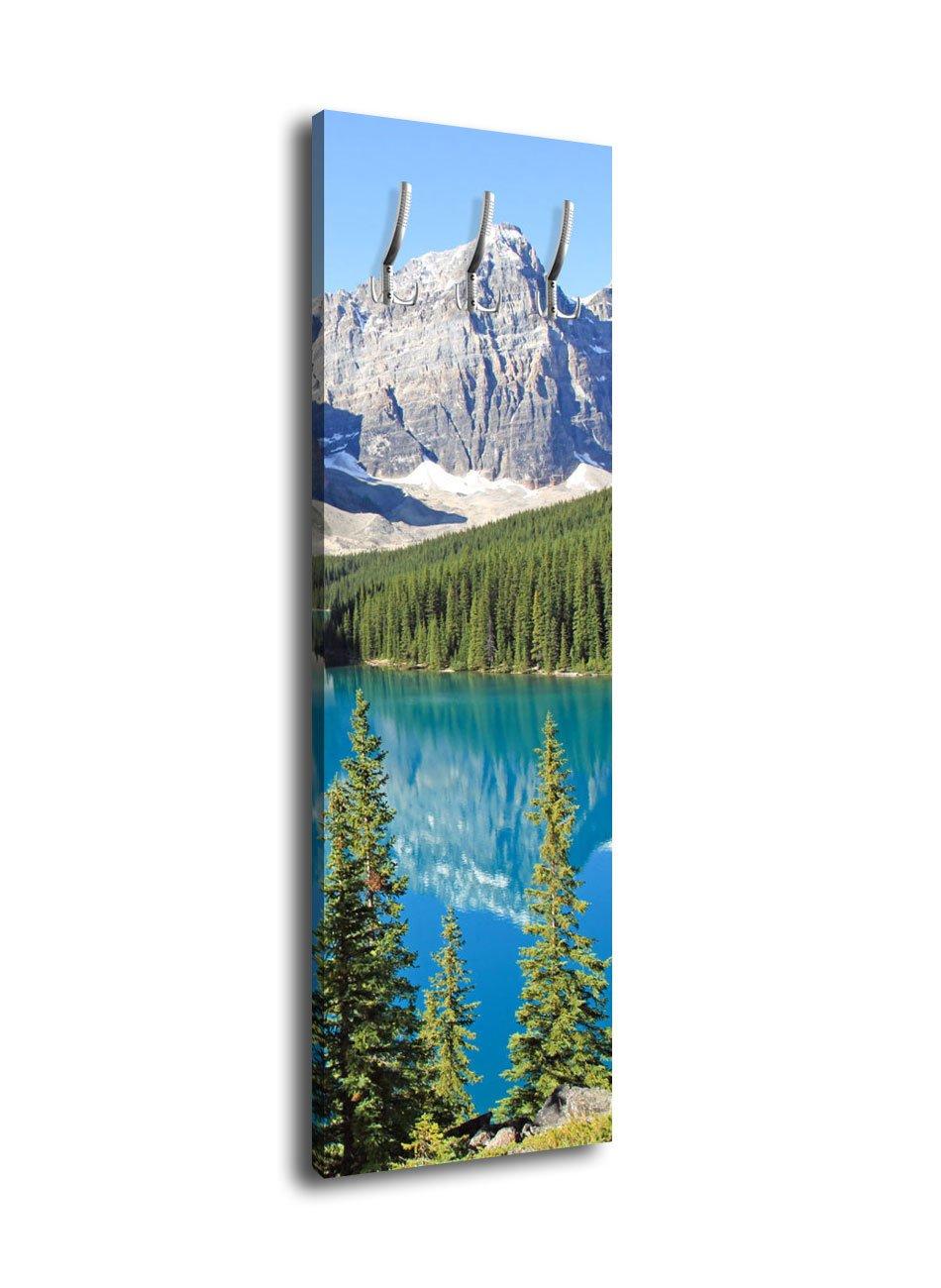 Wandmotiv24 Garderobe mit Design Moraine Lake Kanada G149 40x125cm Wandgarderobe See Blau Natur