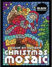 CHRISTMAS MOSAIC Color By Number (Black Backgrounds)