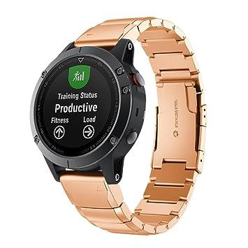 Garmin Fenix 5 reloj banda correas, sansee pulsera de acero inoxidable correa de reemplazo banda para Garmin Fenix de instalación rápida 5, color oro rosa: ...