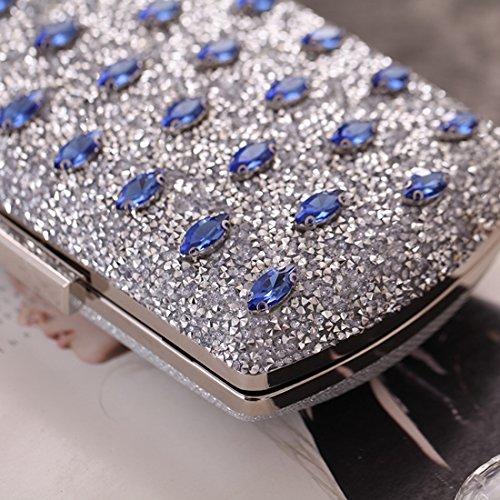 Banquet Women's Clutch Purse Bag Blue Dress JESSIEKERVIN Evening Handbag Diamond qgpZX