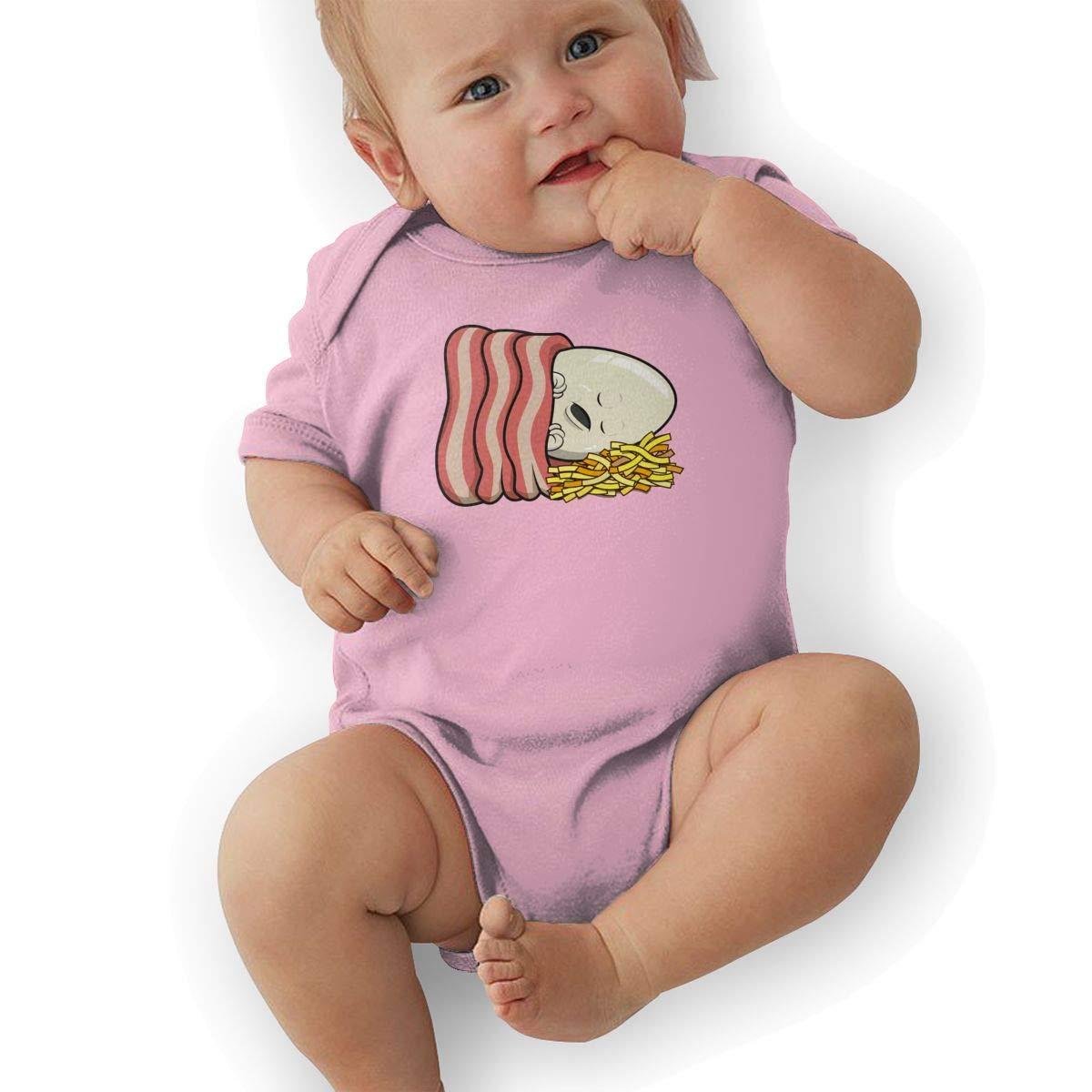 Newborn Baby Boys Bodysuit Short-Sleeve Onesie Eggs and Bacon Print Jumpsuit Summer Pajamas