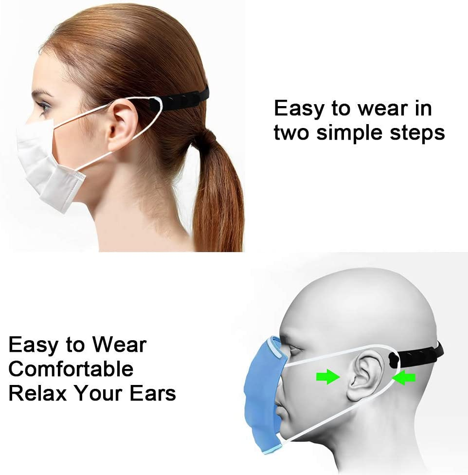 Anti-Tightening Ear Strap Accessories Adjuatable Ear Protector Decompression Holder Hook Buckle Ear Grips Extension Ear Pain Relieved SILUKER 10 Pack Strap Extender