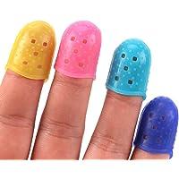 Ogquaton Protège-doigts des doigts en silicone pour la protection des doigts de la couverture couvrent les accessoires pour le débutant en ukulélé, guitare électrique, couleurs assorties, 4 pcs