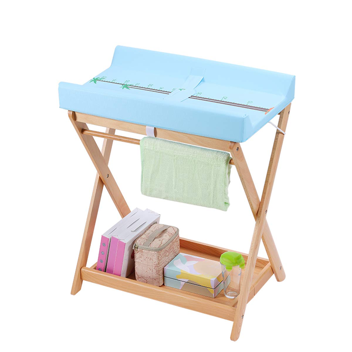 Change Diaper Table, Solid Wood Baby Care Table, Multi-Functional Storage Foldable Baby Diaper Table, Portable Baby Change Clothes Rack 78cm