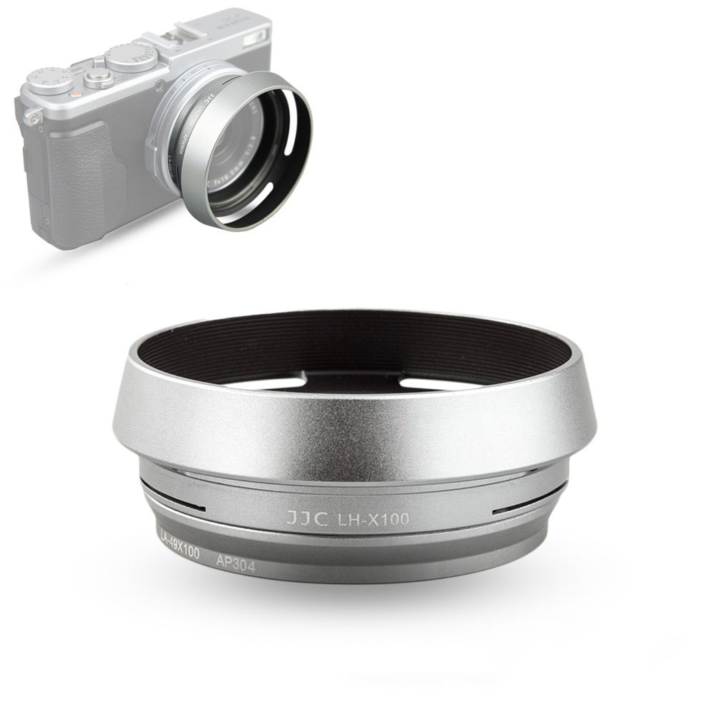 Lens Hood Set JJC for Fuji Fujifilm X100F X100S X100T X100 X70 Replaces Fujifilm LH-X100 Lens Hood & Adapter Ring Aluminum alloy-Silver 1 pack by JJC