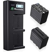 Powerextra LCD Dual oplader met 2 stuks reserveaccu voor Sony NP-F970 NP-F960 NP-F950 NP-F930 geschikt voor Sony CCD-TR…