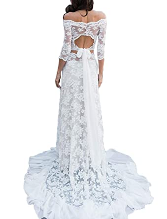 fb046e2debe Off The Shoulder Lace Wedding Dresses for Bride 3 4 Sleeves Mermaid 2 Piece  Beach Bohemian Bridal Wedding Gowns at Amazon Women s Clothing store