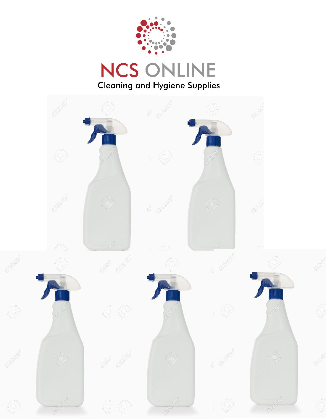 5 x750ml Spray bottles complete with BLUE Trigger Head Cleaning Automotive Gardening NCS