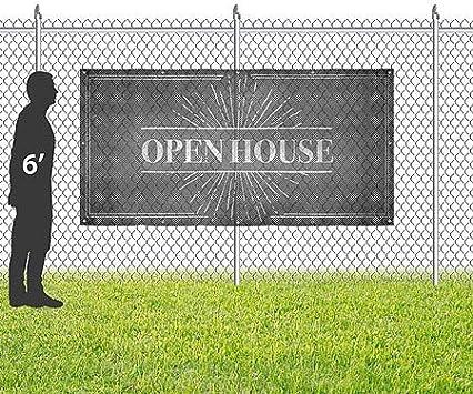 CGSignLab Open House 8x4 Chalk Burst Wind-Resistant Outdoor Mesh Vinyl Banner