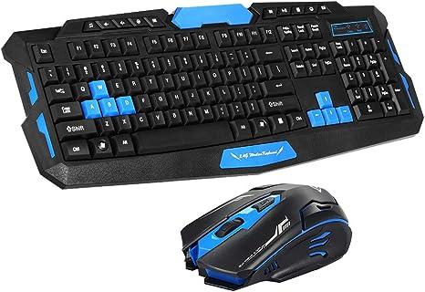ZUKN 2.4 GHz Teclado inalámbrico para Juegos Teclado Mouse Combo 19 Teclas Anti-Fantasma Ajustable dpi Ratón Adaptador Receptor USB Adaptador de ratón,A: Amazon.es: Deportes y aire libre