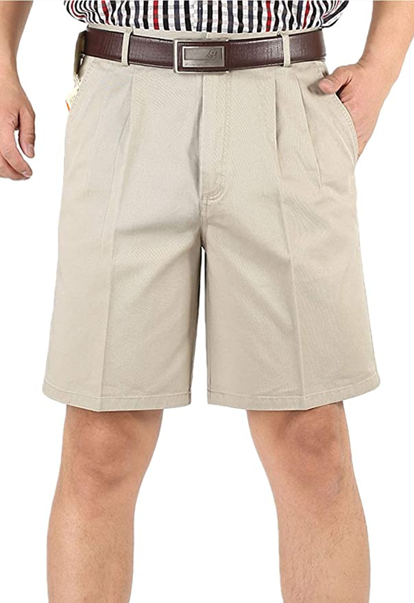 Vintage Style Mens Shorts Flygo Mens Classic Fit Inseam Chino Oxford Shorts Pleated Flat Golf Shorts $24.99 AT vintagedancer.com