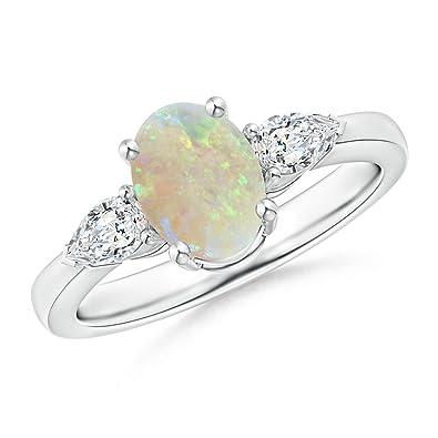 Precious Metal Without Stones Platinum Diamond And Opal Three-stone Ring