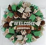 Football Wreath   Welcome Sports   Mesh Outdoor Front Door Wreath : Brown Green Burlap
