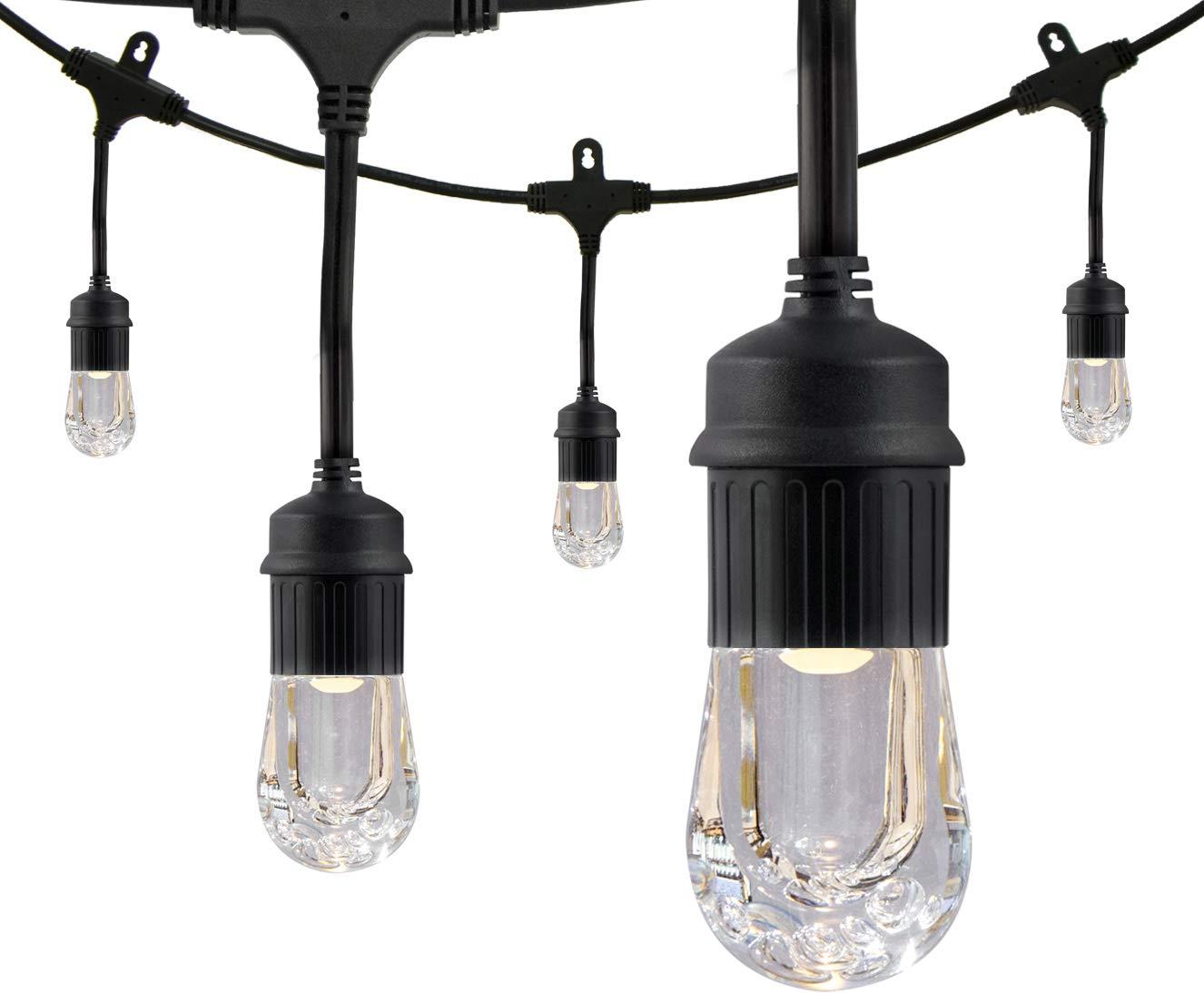 Enbrighten Classic LED Cafe String Lights, Black, 36 Foot Length, 18 Impact Resistant Lifetime Bulbs, Premium, Shatterproof, Weatherproof, Indoor/Outdoor, Commercial Grade, UL Listed, 33171 by Enbrighten