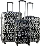 3pc Luggage Set Hard Rolling 4 Wheels Spinner Upright Travel Lightweight Damask