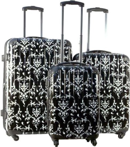 3pc Luggage Set Hard Rolling 4 Wheels Spinner Upright Travel Lightweight Damask by Trendy Flyer