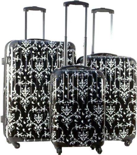 3pc Luggage Set Hard Rolling 4 Wheels Spinner Upright Travel Lightweight (Brookfield 1 Light)