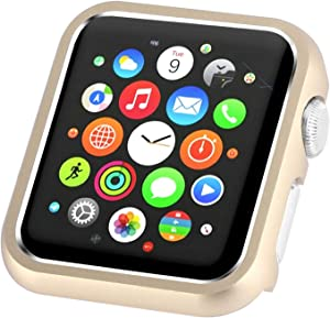 Leotop Compatible with Apple Watch Case 44mm 40mm Series 6 5 4 SE, Metal Bumper Protective Cover Aluminum Alloy Frame Bling Shiny Shockproof Protector Shell Compatible iWatch (Matte Gold, 40mm)