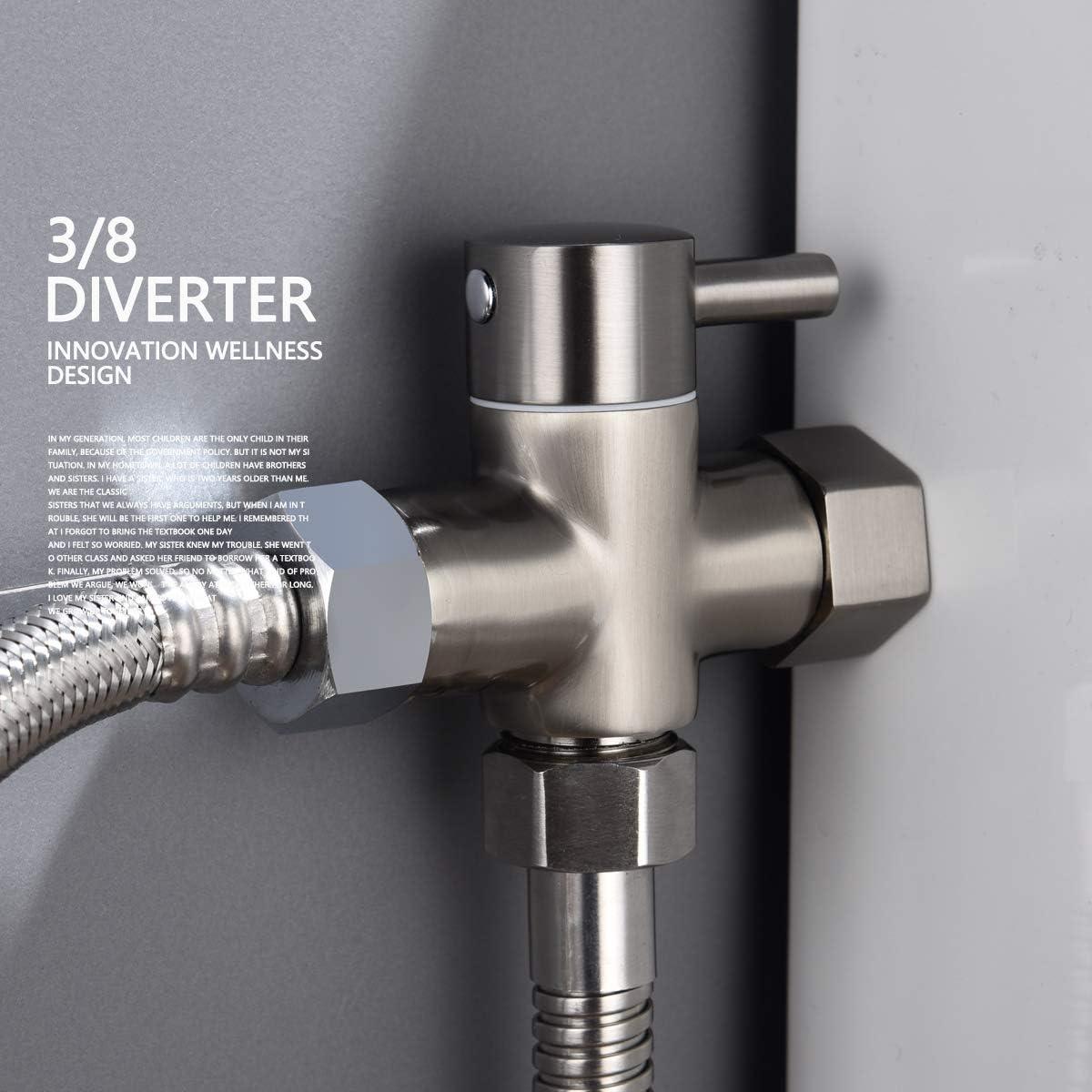 Tecmolog DSF007D Desviador de 3 v/ías de lat/ón para bid/é de ducha o bid/é de 3//8 a 12//17