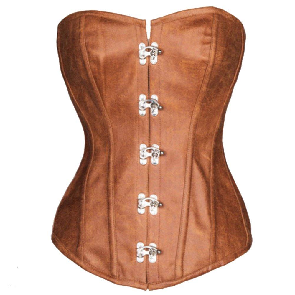 ZAMME Mujeres Steampunk Gothic Encaje Deshuesado Overbust Corset Bustier Clubwear Body Shaper CNPCR274