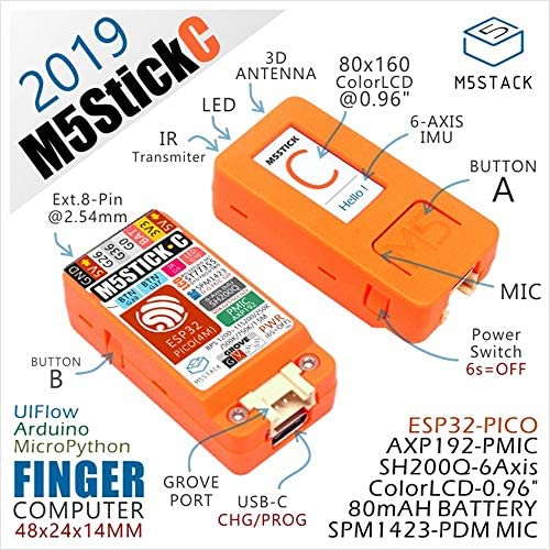 2019 M5StickC ESP32 PICO 미니 IoT 개발 보드 핑거 컴퓨터 컬러 LCD (1 세트) / 2019 M5StickC ESP32 PICO Mini IoT Development BoardFinger Computer Color LCD (1 set)