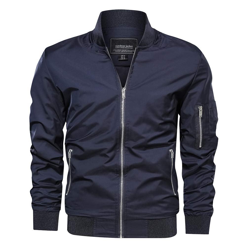 CRYSULLY Mens Spring Fall Casual Windbreakers Coat Thin Lightweight Bomber Jackets Outerwear