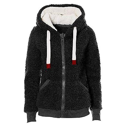 Gusspower Sudadera con Capucha Mujer Peluche Abrigos de Chaqueta cálido Moda sólido de Manga Larga Top suéter Blusa: Amazon.es: Ropa y accesorios