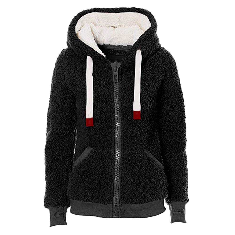 Women Coat Clearance, Gallity Warm Thick Coat Plush Long Sleeve Zipper Parka Outwear Jacket Overcoat with Pockets (S, Black)