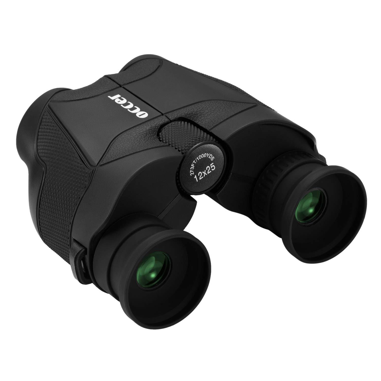 occer 12x25 HD Compact Binoculars for Adults Kids,Small Binocular Long Soft Eye Relief & Bak4 Prism,Waterproof Binoculars with Low Light Night Vision for Bird Watching,Hunting,Hiking,Wildlife,Travel