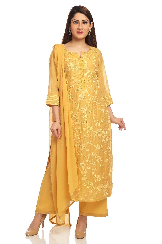 BIBA Mustard Straight Poly Cotton Suit Set Size 36
