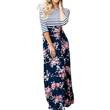 Soupliebe_vestido Largo para Mujer Falda Estampada Raya Floral ...