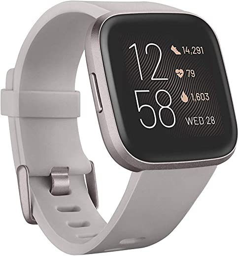 Fitbit Versa 2 Health and Fitness Smartwatch with Heart Rate, Music, Alexa Built-In, Sleep and Swim Tracking, Stone/Mist Grey, One Size (S and L…