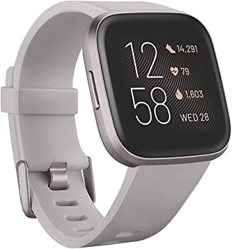 Fitbit Versa 2 Health & Fitness Smartwatch with Heart Rate, Music, Alexa Built-in, Sleep & Swim Tracking, Stone/Mist Grey, One Size (S & L Bands ...