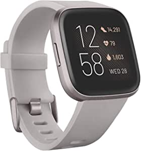 Fitbit Versa 2 Health and Fitness Smartwatch with Heart Rate, Music, Alexa Built-In, Sleep and Swim Tracking, Stone/Mist Grey, One Size (S and L Bands Included)