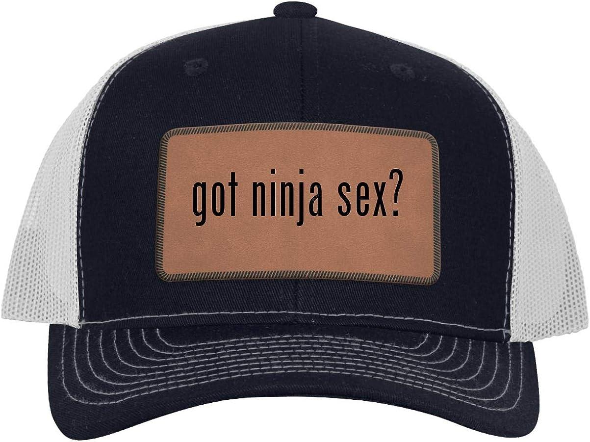 got Ninja Sex? - Leather Dark Brown Patch Engraved Trucker Hat