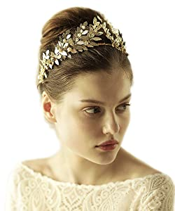 Goddess Laurel Leaf Headband Bridal Hair Crown for Garden Wedding Hair Band