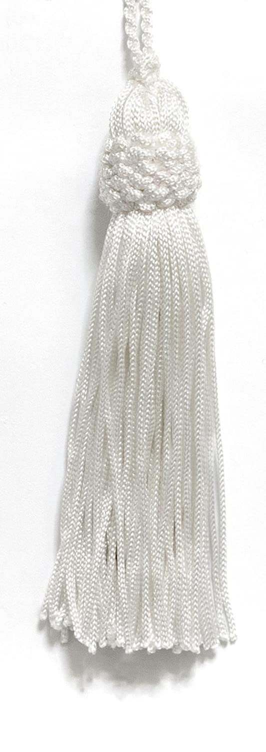 D/ÉCOPRO Set of 10 White Crown Head Chainette Tassel A1 Basic Trim Collection Style# CT04 Color: White 4 Inch Long with 1 Inch Loop