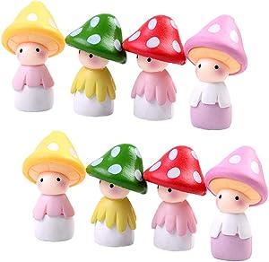 8 Pcs Miniature Mushroom Dolls, Fairy Garden Doll Figurines Dollhouse Garden Decor Micro Landscape DIY Outdoor Decorations