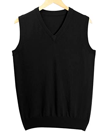 6630d9718ab74 Women s 100% Pure Cashmere Sleeveless V-Neck Pullover Sweater Vest-Black