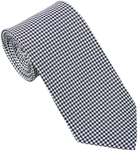 Sebastien Grey Men's 7 Fold Silk Tie Houndstooth Design