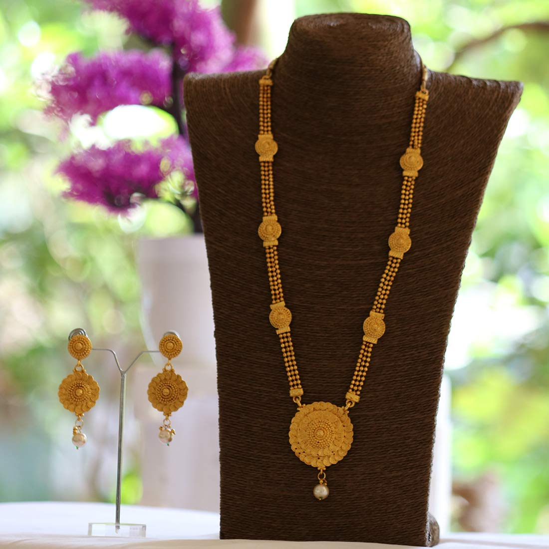 4fc45328809 Buy Lookethnic Gold Plated Long Necklace Set For Women Online at Low Prices  in India | Amazon Jewellery Store - Amazon.in