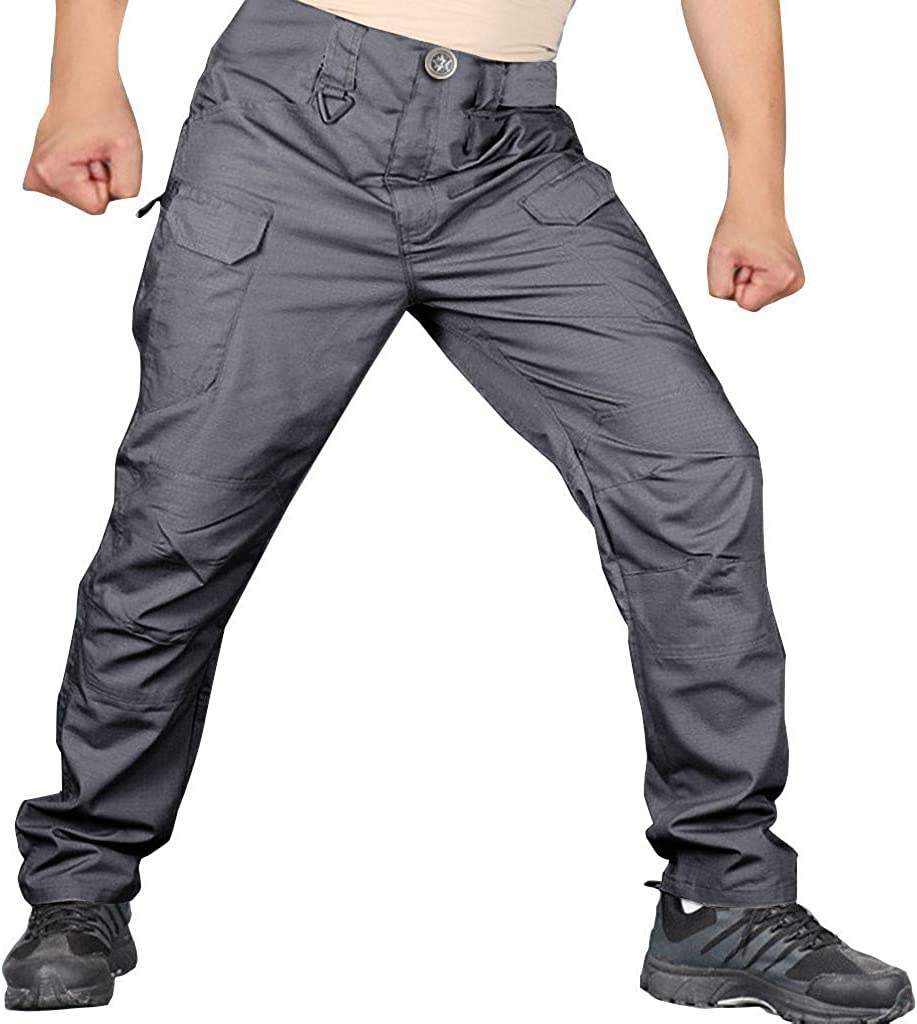 F/_Gotal Mens Cotton Multi-Pockets Work Pants Waterproof Tactical Outdoor Camping Climbing Military Army Cargo Pants