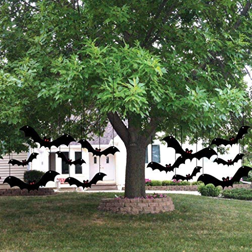 VictoryStore Yard Sign Outdoor Lawn Decorations: Halloween Yard Decorations With Scary Hanging Bats - Set of 12 -