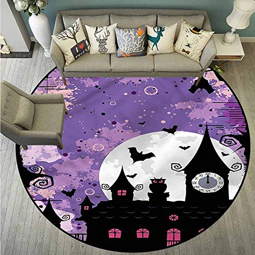 Skid-Resistant Rugs,Vintage Halloween,Towers and Bats,Anti-Slip Doormat Footpad Machine Washable,3'11