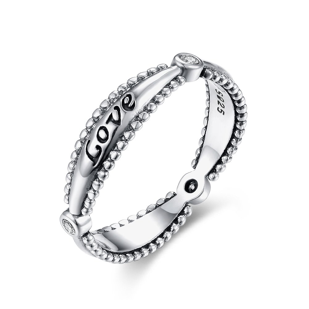 Tongzhe 4mm Love Wedding Lace Band Ring in Antique Sterling Silver 925 with Red Cubic Zirconia US Size 8