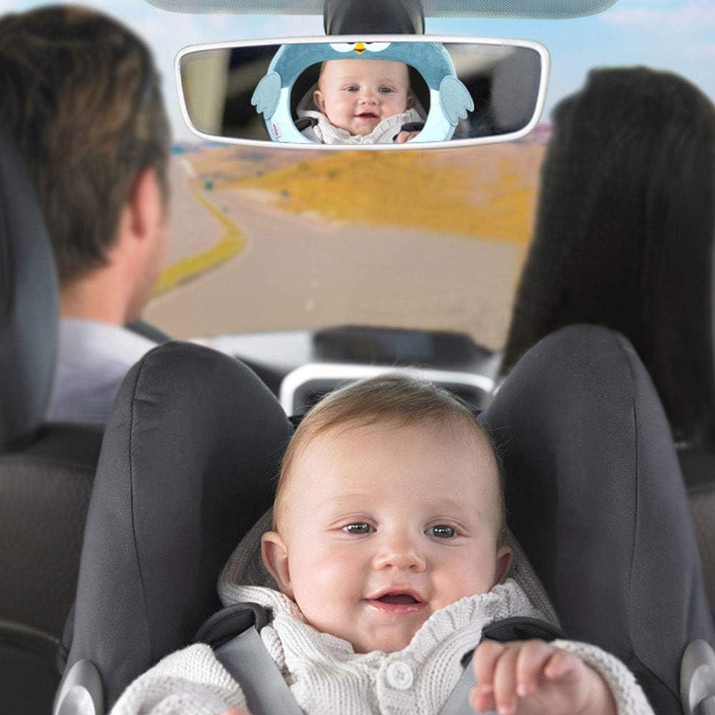espejo de asiento trasero irrompible para coche de beb/é con un gran campo de visi/ón espejo de beb/é de rotaci/ón flexible de 360 /° sin tornillos Phiraggit Espejo de coche para beb/é