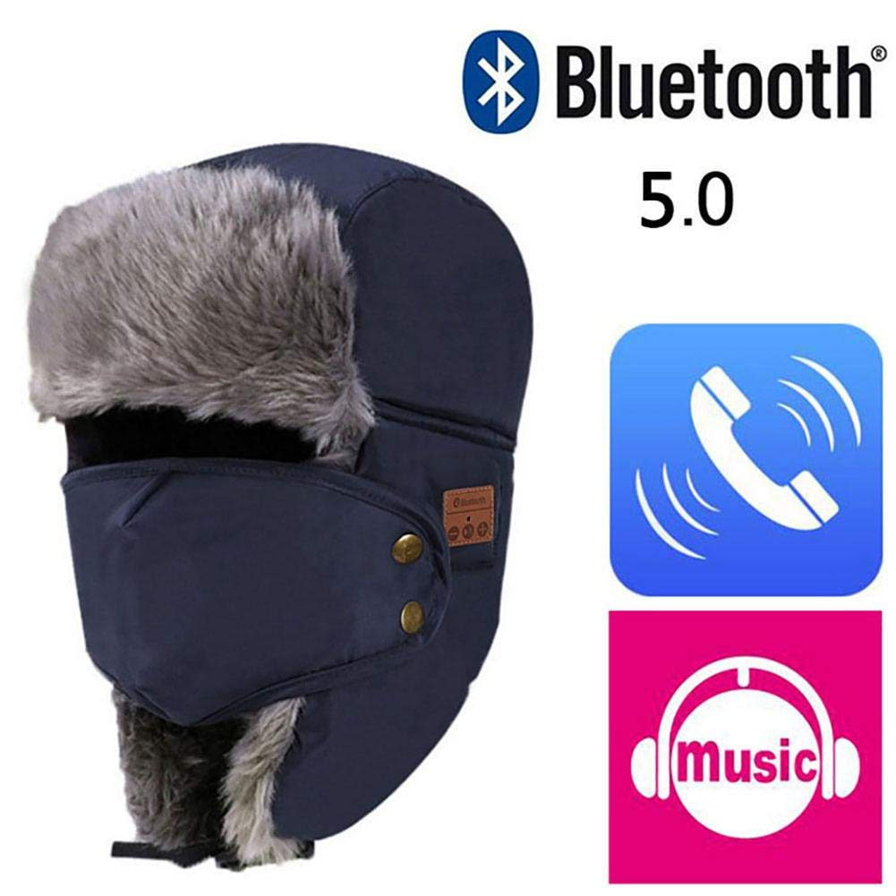 Biback Bluetooth Caldo Antivento Cappelli, Staccabile Face Mask paraorecchie 5.0, Cappello Musica Bluetooth Wireless Antivento e antineve Headset Music Copricapo Berretto Unisex Invernale in Pile A