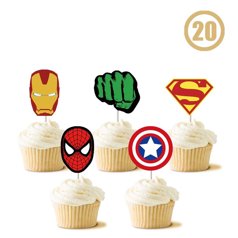 Admirable 20 Superhero Cupcake Toppers Set Birthday Cake Topper Decorations Funny Birthday Cards Online Necthendildamsfinfo