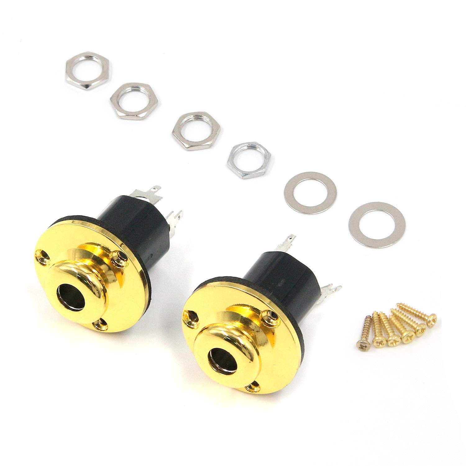 Gold FarBoat 2Pcs 6.35mm//1//4inch Acoustic Guitar Endpin Output Jacks Plugs Pickup Sockets with Screws Metal Replacement Accessories Part for Classic Guitars Folk Guitars
