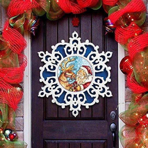 gdebrekht blue snowflake santa with reindeer indoor outdoor wooden hanging door decorations - Handmade Wooden Outdoor Christmas Decorations